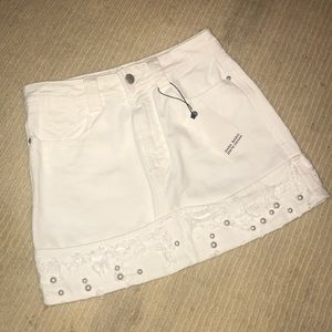 ZARA white jean skirt